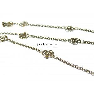 Apprêt pour bijoux: 1m Bronze chaine dentelle fleur ref 595