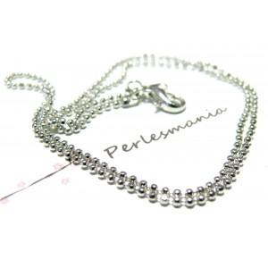 Apprêt bijoux 1 Collier chaine bille fines PP 1,2mm avec fermoir ref 16