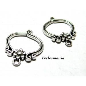 Apprêt bijoux: 10 pendentifs rétro fleurs VA ref 2W5108