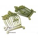 Apprêt bijoux: 2 magnifiques pendentifs cage oiseaux Bronze ref 2D1775