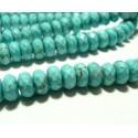 Apprêt et perles: 10 rondelles facettées turquoise reconstituées 6 par 10mm