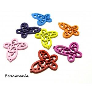 10 pendentifs ref 25D papillon bois couleur mixte