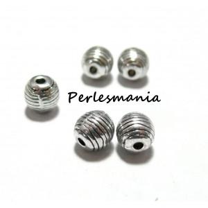 Apprêts et perles: 10 perles intercalaires P6662 Vieil argent style rayures