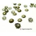 Apprêt pour bijoux: 50 pieces PB524 petites coupelles caps Bronze 6mm