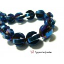 Apprêts et perles: 2 perles Hématite PAC MAN ( 4 pièces au total ) 10mm Bleu nuit