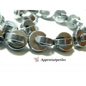 Apprêts et perles: 2 perles Hématite PAC MAN ( 4 pièces au total ) 10mm Argenté