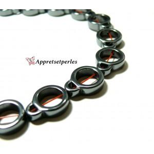 Apprêts et perles: 10 perles Hématite Duo 12 par 15 mm Gris argenté