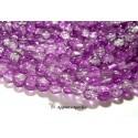 Apprêt et perles: 20 perles de verre craquelé bicolore violet et blanc 8mm 2O5214