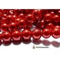 Perles pour bijoux: 40 perles de verre nacre rouge 6mm ref B73