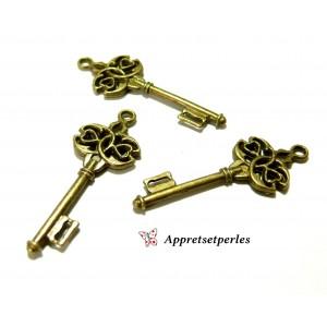 Apprêt bijoux 10 pendentifs clé travaillées P2853 Bronze
