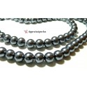 Perles pour bijoux :20 perles de verre nacre gris 10mm ref B19