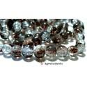 Offre spéciale: 1 fil environ 100 perles de verre craquelé bicolore marron et blanc 8mm 2O5708