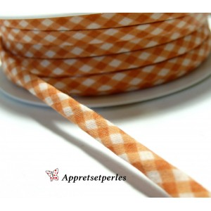 Apprêt 50cm ruban cordon spaghetti 7mm ref FFcollection 509 vichy orange