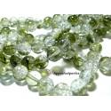 Offre spéciale: 1 fil environ85 perles de verre craquelé bicolore vert et blanc 10mm 2O5212