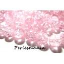 Offre spéciale: 1 fil environ 100 perles de verre craquelé rose pale 8mm 2O5714