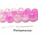 OFFRE SPECIALE: environ 140 perles de verre craquelé bicolore blanc et fushia 6mm 2G5722