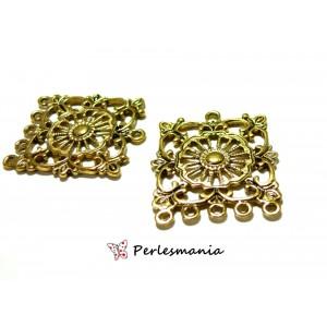 Apprêt bijoux 2 pièces multi connecteurs carre P734 Vieil Or