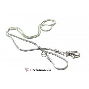 Apprêt bijoux 10 Colliers chaine serpent 1,2mm avec fermoir ref 15