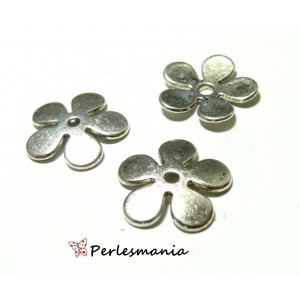 Apprêt pour bijoux: 10 coupelles calottes caps fleur P10402 Vieil argent