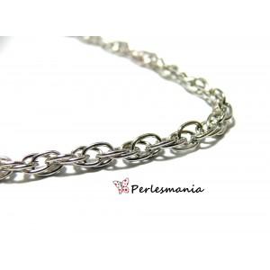 Fournitures pour bijoux: 1 m chaine double maille argent platine PCHP005Y