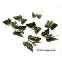 Fournitures bijoux: 50 breloques papillon bronze ref 7
