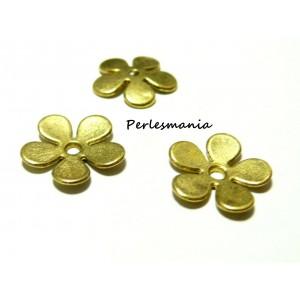 Apprêt pour bijoux: 10 coupelles calottes caps fleur P10402 Doré