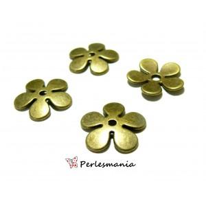 Apprêt pour bijoux: 10 coupelles calottes caps fleur P10402 Bronze