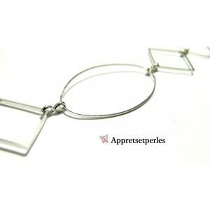 Apprêt pour bijoux: 1 M Chaine support cuivre Ovale et losange Argent platine ref 3