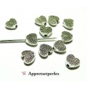 Fournitures et perles: 20 perles  intercalaires 2B2627 coeur picot Viel argent