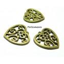 Fournitures pour bijoux: 10 pendentifs connecteur coeur Bronze arabesque 2D4710