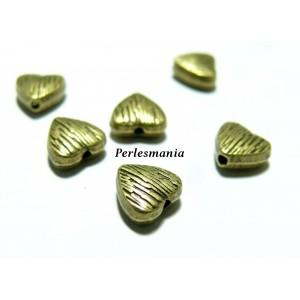 Fournitures et perles: 20 perles intercalaires 2Y4115 coeur strié Bronze