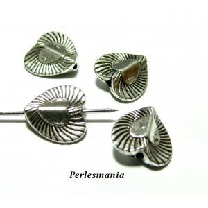 Fournitures et perles: 10 perles intercalaires 2A6126 coeur 3D Vieil argent