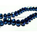 Perles pour bijoux:  20 Rondelles 8 par 10mm Verre   2J1102 facettée bleu nuit électrique