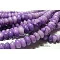 Perles pour bijoux: 10 perles agate larimar violette rondelles 6 par 10 mm