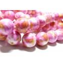 Perles pour bijoux : 10 perles pierres teintées rose orange jaune 6mm