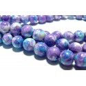 Perles pour bijoux: 10 perles pierres teintées bleu violet 8mm