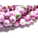 Perles pour bijox: 1 fil d'environ 66 perles pierres teintées vert rose 6mm
