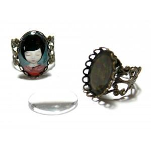 2 pièces: 1 Support de bague 13 par 18mm vague bronze anneau dentelle et 1 cabochon