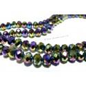 20 perles Rondelles 6 par 8mm Verre   2J1611 facettée multicolores métallique