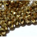 Perles pour bijoux: 20 Rondelles 4 par 6mm Verre 2J1110 facettée doré