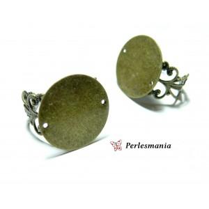 10 Support de bague anneau dentelle plateau plat 20mm couleur Bronze