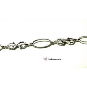 Apprêt pour bijoux:1 Mètre de chaine argent platine style noeud ref 70