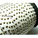 1 mètre de cordon de suédine cloutée doré aspect Daim Blanc PR00210