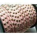 1 mètre de cordon de suédine cloutée doré aspect Daim ROSE PR00214