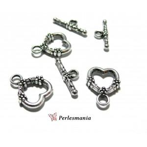 Apprêt bijoux: 4 set 2Y1113 magnifique fermoirs Viel argent coeur travaillés pur création de bijoux