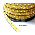 1 mètre de cordon de suédine cloutée doré aspect Daim Jaune Canari PR00209