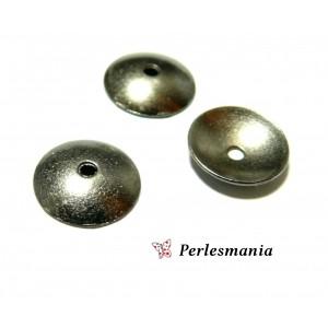 Apprêt pour bijoux: 50 coupelles calottes caps lisse P11072Y GUN METAL