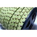 1 mètre de cordon de suédine cloutée doré aspect Daim Vert anis PR00206
