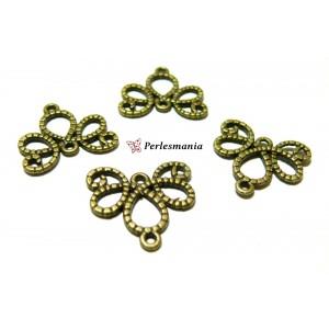 Fournitures pour bijoux: 10 breloques magnifiques multiconnecteur P11609 bronze