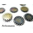 10 Support de pendentif 18mm double vague Bronze fournitures pour bijoux